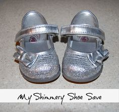 save scuffed glittery shoes with matching nail polish