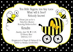 I like the saying at the top! Bumble Bee Baby Shower Invitation | Birthday Party Ideas Bumble Bee Invitations, Printable Baby Shower Invitations, Invitation Birthday, Invitation Ideas, Invites, Baby Invitations, Printable Party, Invitation Design, Invitation Cards