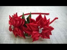 D.I.Y. Satin Ribbon Poinsettia Flower Tutorial - YouTube