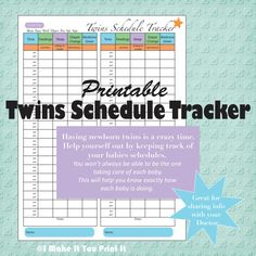 Printable Baby Schedule Tracker and Twins Schedule Tracker - Rather than spending money on something you can do yourself, use it as a reference and create your own ie) bottle times, nap times, etc Newborn Twins, Twin Babies, Baby Twins, Twins Schedule, Twin Tips, Baby Eating, How To Have Twins, Baby Hacks, Baby Shower Parties