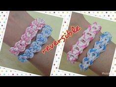 Reversible rainbow loom bracelet with beads - tutorial. Not sure if I would wear as reversible because the beads may be uncomfortable. Pretty though.