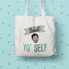 New to DesignGenesStudio on Etsy: Treat Yo Self eco tote bag Parks and Rec print tote Parks and Rec fan gift Tom Haverford quote Aziz Ansari quote Canvas Eco Tote Bag (17.50 USD) #greetingcards #mugs #gifts