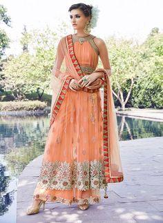 Buy orange color sleeveless partywear Lehenga Style Anakrali Suit at Kalpanas Creations. This Anarkali Salwar Suit avaible with brocade lehenga (skirt) and pakistani sharara style pant (trouser). Designer Salwar Kameez, Designer Anarkali, Indian Dresses, Indian Outfits, Pakistani Outfits, Latest Anarkali Suits, Salwar Suits, Peach Gown, Anarkali Lehenga