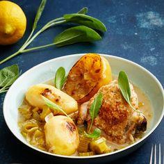 Sitruunainen broileri-perunapata   Meillä kotona Quiche Lorraine, Salvia, Ramen, Chicken, Meat, Ethnic Recipes, Food, Sage, Essen