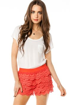 ShopSosie Style : Scallop Crochet Shorts in Coral