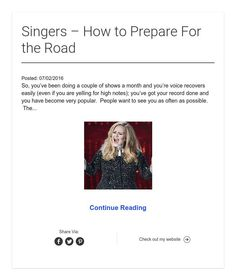 Singers – How to Prepare For the Road