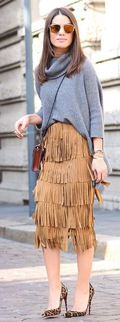 Fringed Suede Midi Skirt