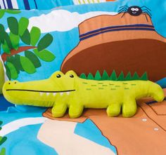 cubby-house-kids-croc-hunter-filled-cushion Cubby Houses, Quilt Cover Sets, Cubbies, Dinosaur Stuffed Animal, Cushions, Quilts, Toys, Outdoor Decor, Animals