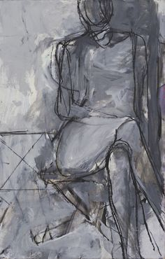 Richard Diebenkorn. Seated Woman. (1966) paint and charcoal on board