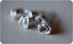 Romantic Rose Silver Earring, Silver Ear Studs, Handmade Silver Earring, Bridesmaid Earrings, Bridal, Wedding, Teenage, Gift #handmade #etsymnt