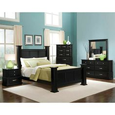 THE FURNITURE :: Black Rubbed Finished Bedroom Set with Panel Bed ...