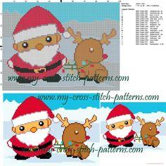 Schema punto croce Babbo Natale e renna