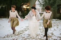 A winter wedding - You can't go wrong with a little faux fur cape