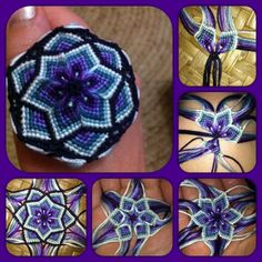 Purple tinted Mandala made with Macrame, shown here are the different fases of the work Flower Star Mandala