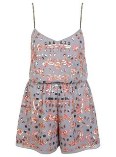 Grey Embellished Playsuit  So many things on the Miss Selfridge website I love right now!