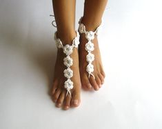 Summer Wedding Barefoot Sandals White Cotton Nude Shoes by Aimarro, $48.00