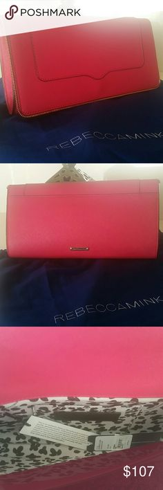 REBECCA MINKOFF DEEP PINK CLUTCH NO TRADES 11 x 6 x 2. Pink with black edging about the clutch and a design zipper trimming. NWT Rebecca Minkoff Bags Clutches & Wristlets