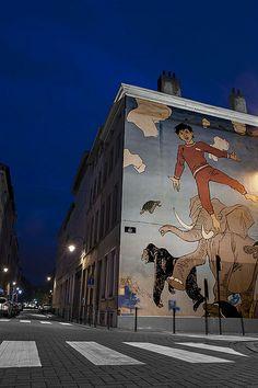 Brussels, Comic Strip Art Nic's Dreams by Hermann Murals Street Art, Art Mural, Street Art Graffiti, Wall Art, Wonder Art, Sidewalk Chalk Art, Best Street Art, Alternative Art, Building Art