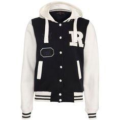 Navy Hooded Baseball Jacket ($14) ❤ liked on Polyvore featuring outerwear, jackets, tops, casacos, shirts, teddy jacket, rock jacket, varsity jacket, college jacket and varsity style jacket