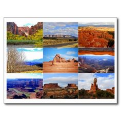 #Utah Icon Collage Postcard  #Zion #Arches #Canyonlands #MesaArch #Bryce Canyon http://www.zazzle.com/utah_icon_collage_postcard-239180034566838971?rf=238577061362460707