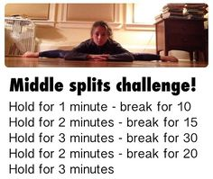 Challenge yourself to improve your middle splits Challenge yourself to improve your middle splits Cheer Stretches, Gymnastics Stretches, Dance Stretches, Gymnastics Workout, Middle Splits Stretches, Cheer Flexibility, Gymnastics Flexibility, Stretches For Flexibility, Flexibility Workout