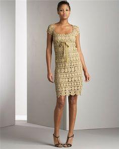 Crochê Tricô - Gráficos: Vestido em Motivos Dourados