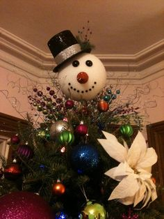 Snowman Head Christmas tree topper visit shelley b home and ...
