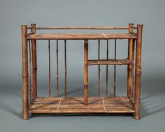 """Japanese Bamboo Miniature  Tana (cabinet with shelves) for tea accoutrement. Early 20th century. 15 1/2""""h. x 19 1/2""""w. x 11 1/4""""d."""