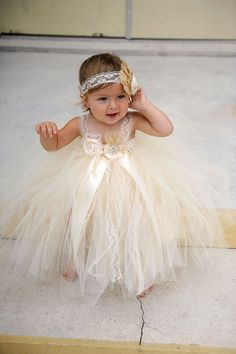 Cream Lace Dress- 3/4 Sleeve  Wedding Flower girl dresses and ...