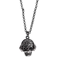 Blue Banana Skull Headphones Necklace ($3.74) ❤ liked on Polyvore featuring jewelry, necklaces, colares, skull head necklace, blue necklace, skull jewellery, blue jewelry and skull jewelry