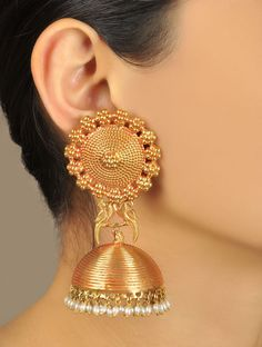 Buy Golden Ivory Pakshi Temple Rose Gold Jhumka Earrings Plated Silver Pearl Maker's Market Online at Jaypore.com