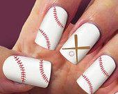 60 Baseball Laces nail decals, Nail Art, design,  Water Slide, nail Decals,#BL001