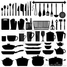 Kitchen Utensils Silhouette Vector  More kitchen silhouette ideas for project http://www.dreamstime.com/photos-images/kitchen-utensils-silhouette-vector.html