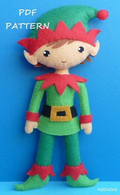PDF sewing pattern to make a felt Elf, 7.7 inches tall.  It is not a finished doll.  Includes tutorial with pictures and step by step explanation.  For