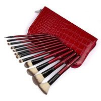 Profesional 12 unids cepillo del maquillaje herramientas maquillaje neceser lana marca de maquillaje cepillo conjunto rojo cocodrilo caso del envío gratis