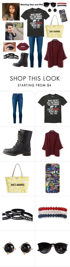 """""""Jessica meeting Dan and Phil in London"""" by sarcasm-central ❤ liked on Polyvore featuring Frame, Hot Topic, Charlotte Russe, Kate Spade, Marvel Comics, Kim Rogers, Irene Neuwirth, Ray-Ban and Lime Crime"""
