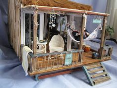 184 best images about minis - dh - beach cottage hut cabana chairs . Barbie Furniture, Home Furniture, Vitrine Miniature, Miniature Houses, Dollhouse Kits, Dollhouse Miniatures, Surf House, Beach Bungalows, Barbie House
