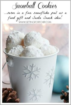 These snowball cookies are so addictive! Buttery, sugar covered 'cookies' that look like mini snowballs! Great food gift and fun Santa Snack idea.
