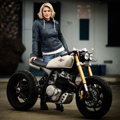 """Katee Sackhoff's Honda Enduro that she had customized for her by the guys at Classified Moto. It was featured on """"Cafe Racer"""". Cg 125 Cafe Racer, Estilo Cafe Racer, Moto Cafe, Cafe Bike, Harley Davidson Sportster, 600 Honda, Katee Sackhoff, Er6n, Triumph Bonneville T100"""
