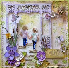 Believe Premade Scrapbook Page 12 x 12 Vintage, Shabby Chic,  Wedding, Art, Layout, Prima, Fairy, Mother's Day