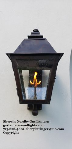 Sheryl's Transitional Gas Lantern, The Nordby Gas Light is a new twist on a traditional gas lantern. Gas Lanterns, Gas Lights, Modern Farmhouse, Sconces, Home Appliances, Traditional, Wood, Conversation, Houston