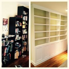 Woods Cabinets, LLC made this custom built-in shelving unit with shaker style doors and custom molding. Before and after picture. Bookshelves, Bookcase, Custom Shelving, Shaker Style Doors, Shelving Units, Entertainment Centers, Before And After Pictures, Wood Cabinets, Built Ins