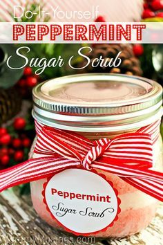 Smells like Candy Canes! Homemade DIY Sugar Scrub Recipe with Free Printable Labels for Gift Giving.