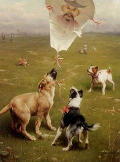 Reichert, Carl - Carl Reichert - Up and Away Dogs Chasing the Kite Painting Cute Paintings, Animal Paintings, Animal Painter, Art Through The Ages, Beautiful Artwork, Dog Art, Vintage Art, Terrier, Illustration