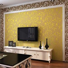 Wallpaper Non-woven Paper Wall Covering - Adhesive required Art Deco 2019 - £ Wall Texture Design, Tv Wall Design, Room Wall Painting, Stencil Painting On Walls, Living Room Wall Designs, Home Room Design, Living Room Wall Wallpaper, Hall Wallpaper, White Wallpaper