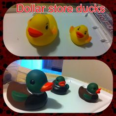 Dollar store rubber duckies transformed into mallard rubber duckies decoration for the baby's bathroom or bedroom ;) a little paint goes a long way didn't take hardly anytime either