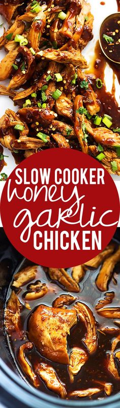 Easy, Slow Cooker Honey Garlic Chicken smothered in a sweet and spicy Asian garlic sauce that'll have you licking your fingers! Crock Pot Recipes, Slow Cooker Recipes, Chicken Recipes, Cooking Recipes, Potato Recipes, Casserole Recipes, Soup Recipes, Recipies, Crock Pot Slow Cooker