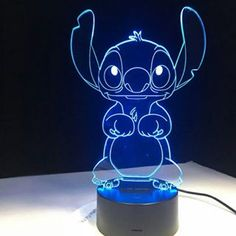 brand new and high quality This unique and charming LED visual night light will be an excellent and romantic gift for your friend and yourself Only use a acrylic piece to create an attractive stereoscopic visual pattern and lighting effects Lilo Ve Stitch, Lelo And Stitch, Stitch Disney, Cute Stitch, Stitch Cartoon, Disney Rooms, Disney Nursery, My Champion, Acrylic Panels