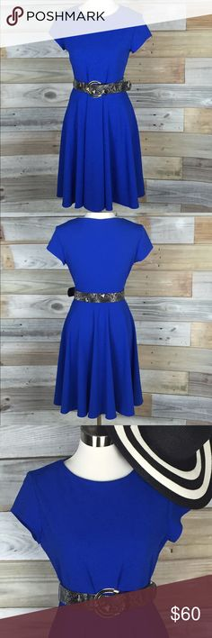 Sharagano Cobalt Skater Midi w/ Belt Wow!! This dress is amazing--bold, beautiful shade of deep cobalt blue, and on trend shortsleeved cut with high neckline and full midi skater skirt...the best part? The incredible belt that comes w/ the dress! Black