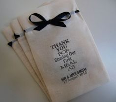 Chic Wedding favor bags,fine natural cotton calico,6 x 4,Set of 50,Thank You For Sharing Our First Meal,Wedding favor,Muslin Bag,Favor Bags